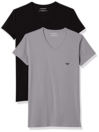 2013a3be Emporio Armani 2-Pack Stretch Cotton V-Neck Men's T-Shirts, Black/Grey