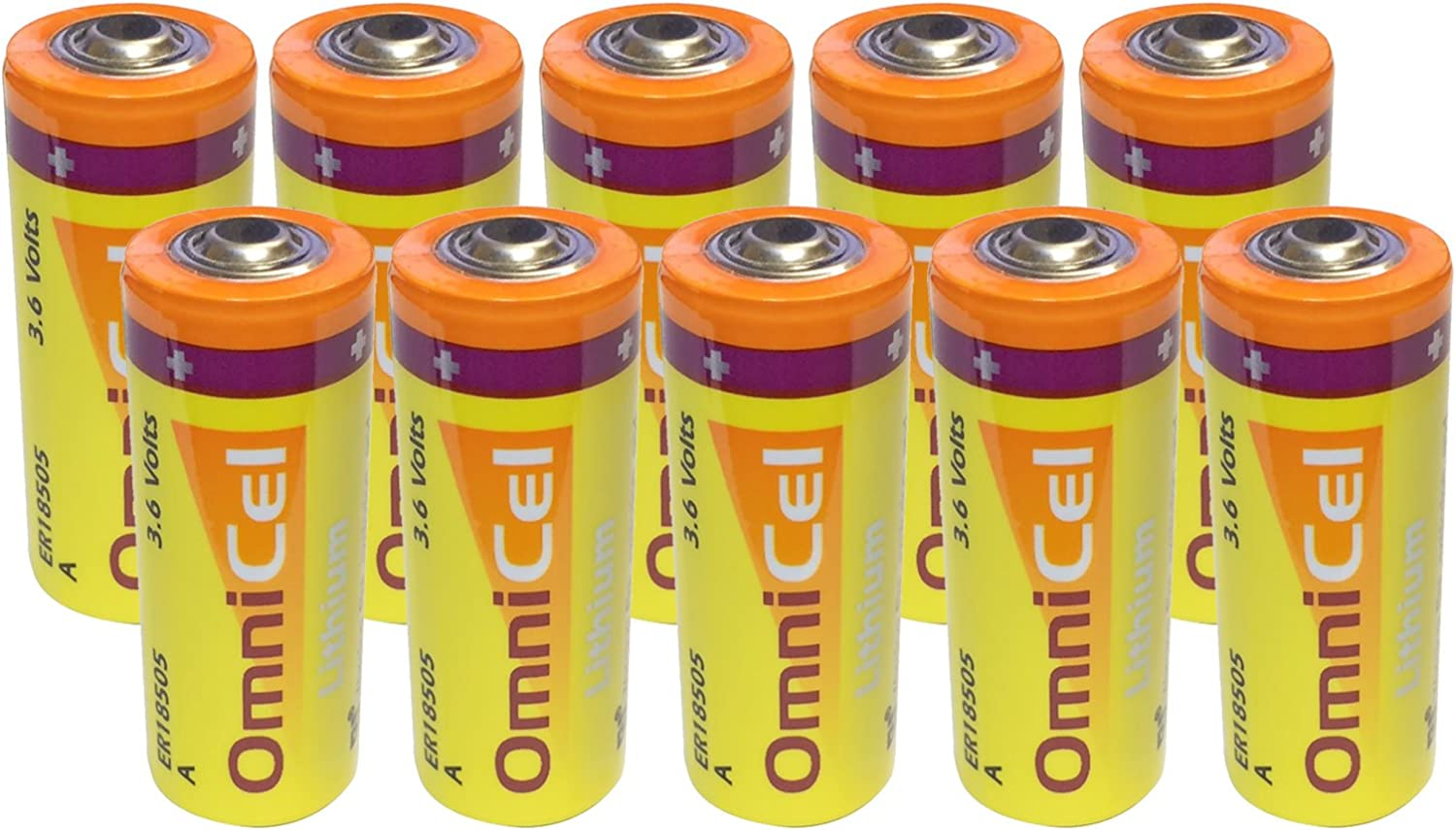10x Omnicel ER18505 3.6V 3.8Ah Size A Lithium Battery For Computer RAM, CMOS Circuit memory backup power, Medical equipment, Radiocommunication, Numerical control machine tool, Taximeter