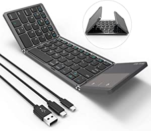 Foldable Bluetooth Keyboard, Jelly Comb 3-in-1 (USB/Microusb/Type C) Wired & Bluetooth Keyboard with Touchpad Compatible for All Devices Windows iOS Android Tablet-Gray