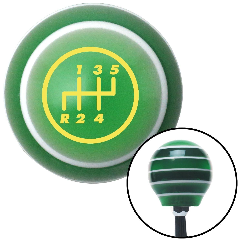 American Shifter 126687 Green Stripe Shift Knob with M16 x 1.5 Insert Yellow 5 Speed Shift Pattern - 5RDL