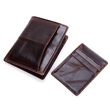 NLJ-YMS Wallet Carpeta Multifuncional Plegable De Cuero De La Cartera De Los Hombres De