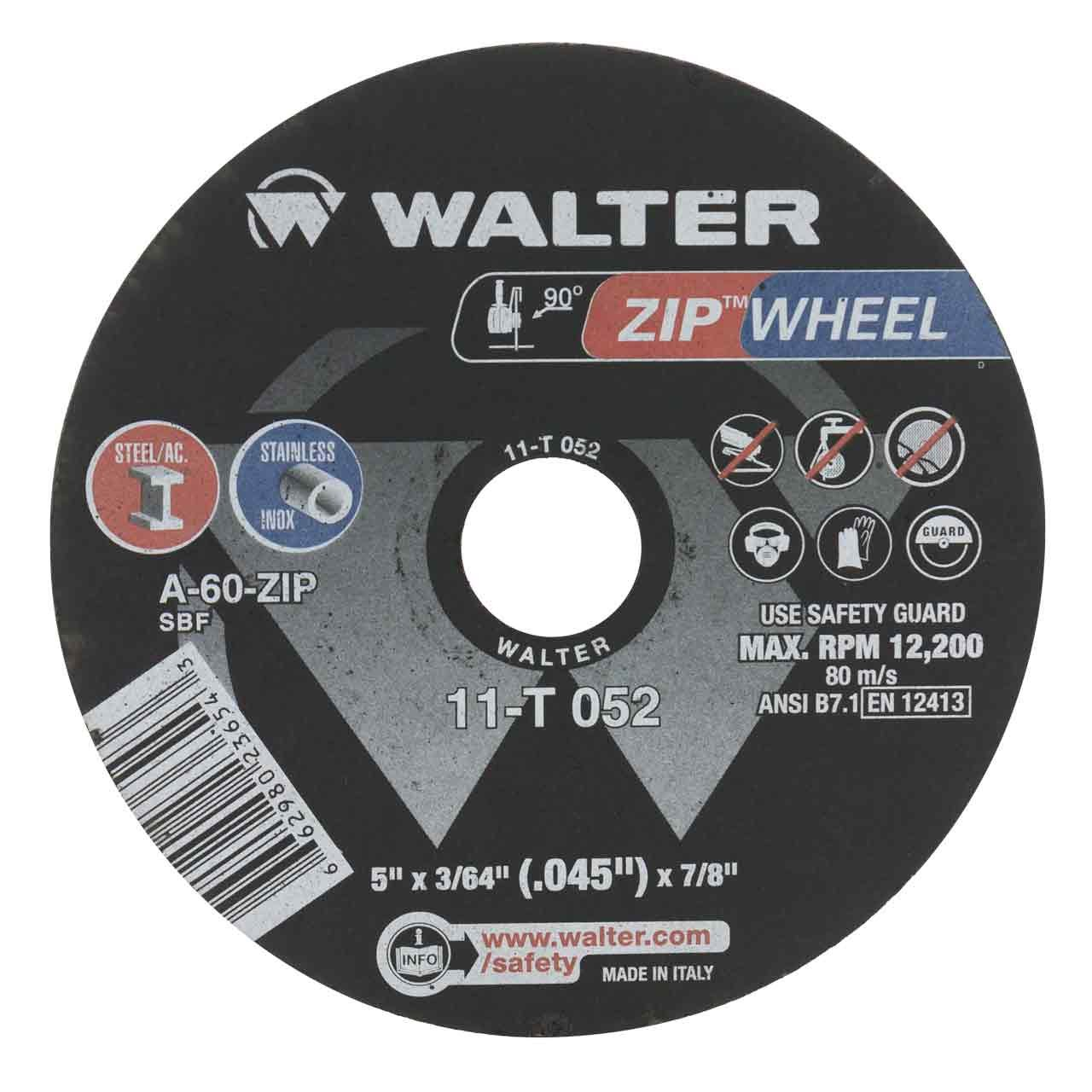 Walter 11T052 5x3/64x7/8 High Performance Zip Wheels Type 1 A60 Grit  