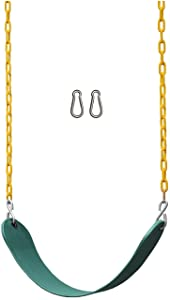 "Jungle Gym Kingdom Swing Seat Heavy Duty 66"" Chain Plastic Coated - Playground Swing Set Accessories Replacement with Snap Hooks (Green)"