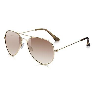 fbe6c26ecd Sunglass Junkie Gold Mirror Aviator Sunglasses. 100% UV Protection UV-400  Lenses.