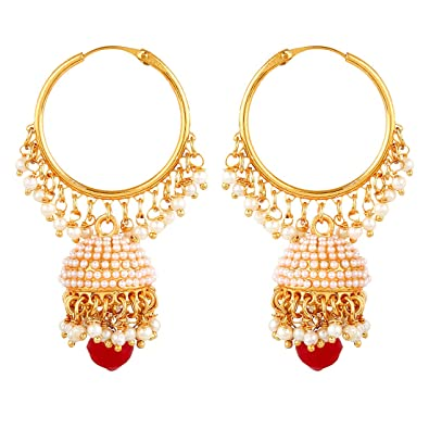 4767e8073bbdad Buy YouBella Stylish Party Wear Traditional Jewellery Gold Plated Jhumkis  Earrings for Women (Golden)(YBEAR_31335) Online at Low Prices in India |  Amazon ...