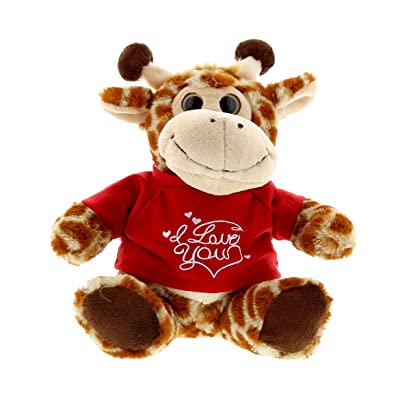 DolliBu Sitting Giraffe I Love You Valentines Stuffed Animal - Red Message Tshirt - 7 inch - Super Soft Plush - Item #K5191-5994: Toys & Games