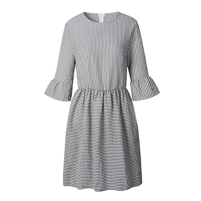 1630d1d775720b Sorrica Womens Fashion Half Sleeve Striped Seersucker Skater Dress Tunic  Dress (S, Black)