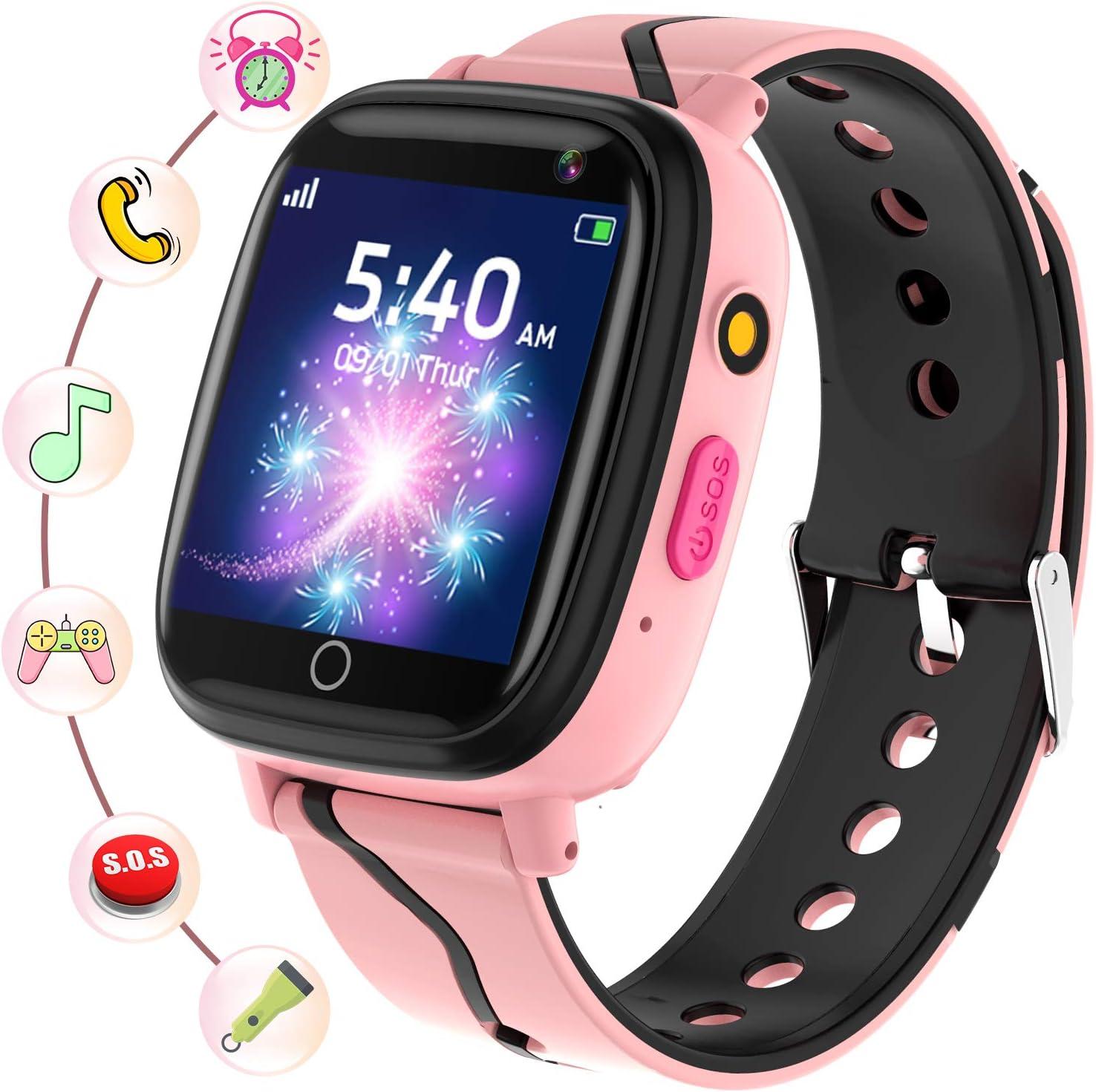 Smartwatch Niños - Relojes Inteligentes Teléfono con Música Juegos SOS Cámara Cronómetro Despertador Grabadora Pantalla Táctil Linterna, Reloj Llamada Niños Regalos Cumpleaños para 4-12 Años (Rosa)
