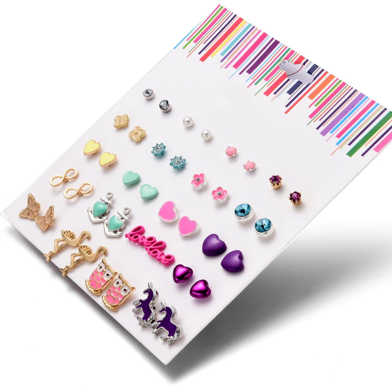 Stud Earrings Set Jewelry for Women Girl Gold bow knot yellow earrings Set Gold Silver Fashion Wedding by Unijew (Image #2)