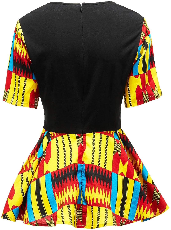 HongyuAmy Women African Print Shirt Ankara Long Sleeve Top