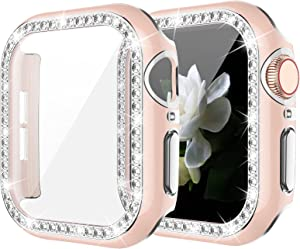 Goton Bling Case with Tempered Glass Screen Protector Compatible with Apple Watch 38mm Series 1 2 3, Diamond Rhinestone Full Protective Cover for iWatch Series 3/2/1 38mm Girl Women - Pink/S