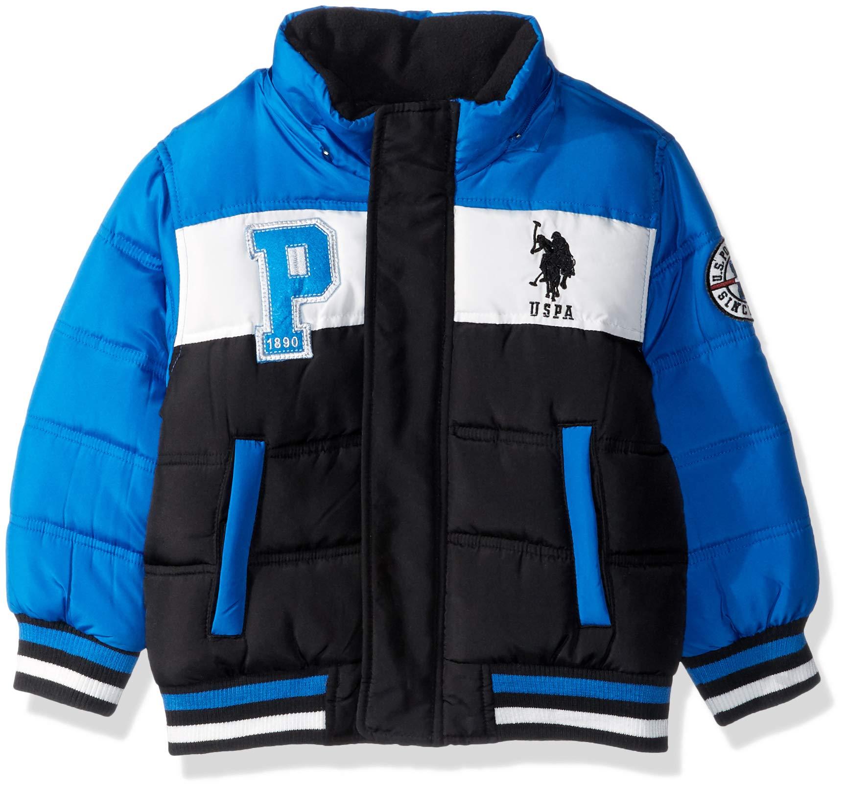 US Polo Association Boys' Big Bubble Jacket with Rib Knit Cuffs, Black/Blue Tile, 8 by U.S. Polo Assn. (Image #3)