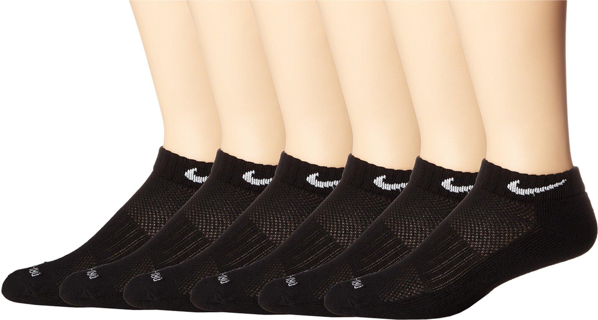 Nike Dri-FIT Low-Cut Training Socks (Large/6 Pair) Black/White Size Large
