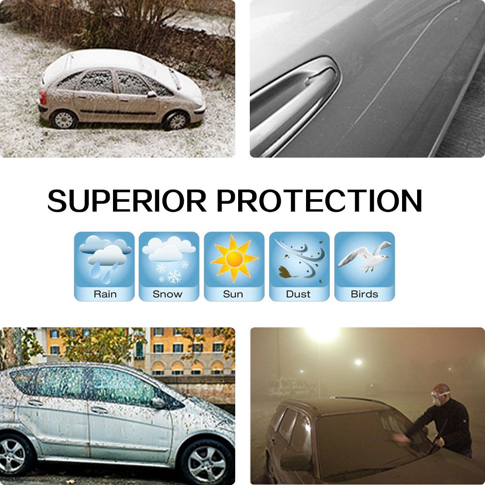 1pc 1 Year Warranty 116033-5211-1150032621 ECCPP Car Cover Universal Fit 100/% Breathable Waterproof Frost Resistant Cover All Weather Protection Auto Car Cover With Polyester 88.58 Long for Cars Silver Grey