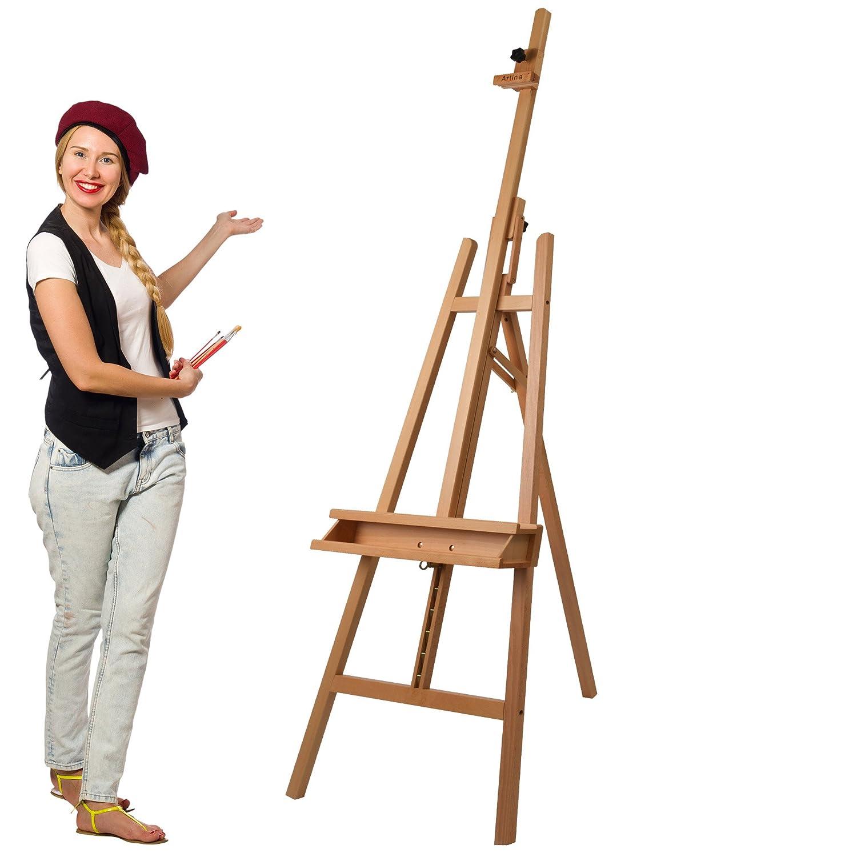 Artina Barcelona - Set de pintura - Caballete de pintura de academia (haya), lienzos, colores acrílicos, pinceles etc.