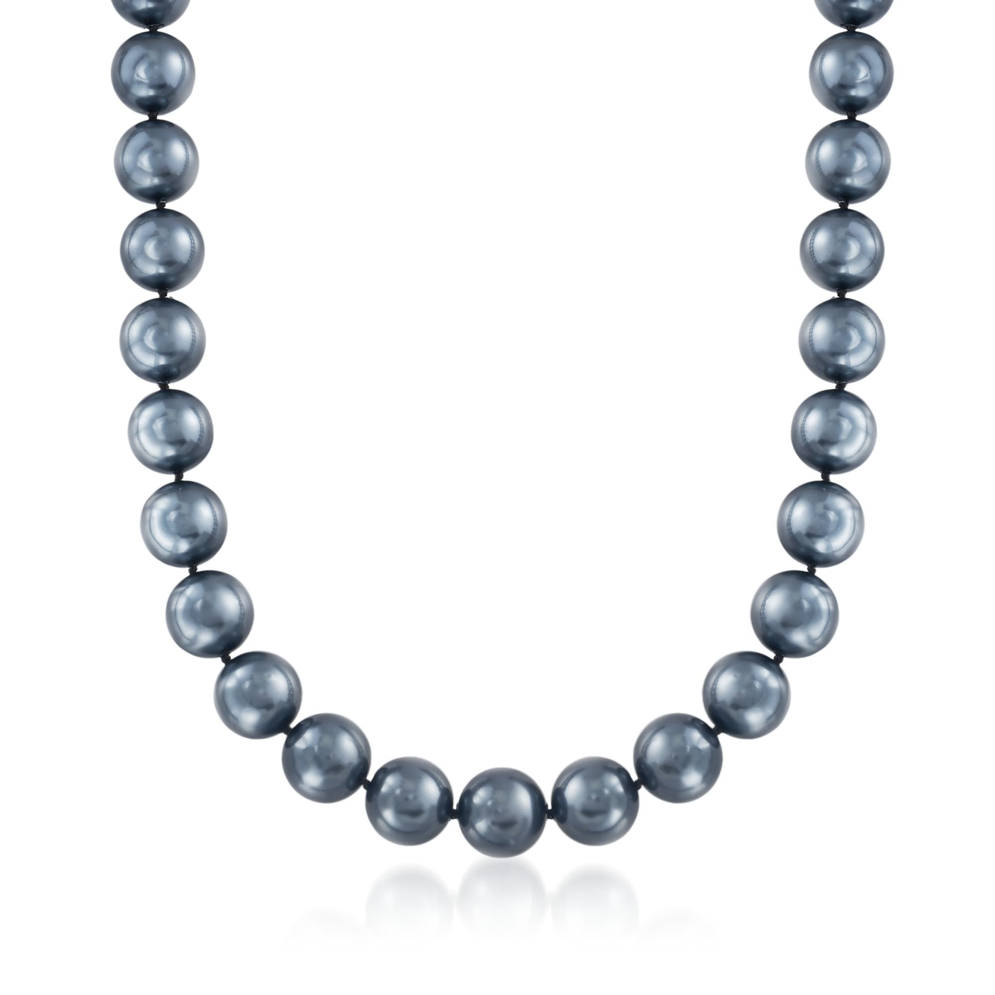 Ross-Simons 14mm Black Shell Pearl Necklace With Sterling Silver