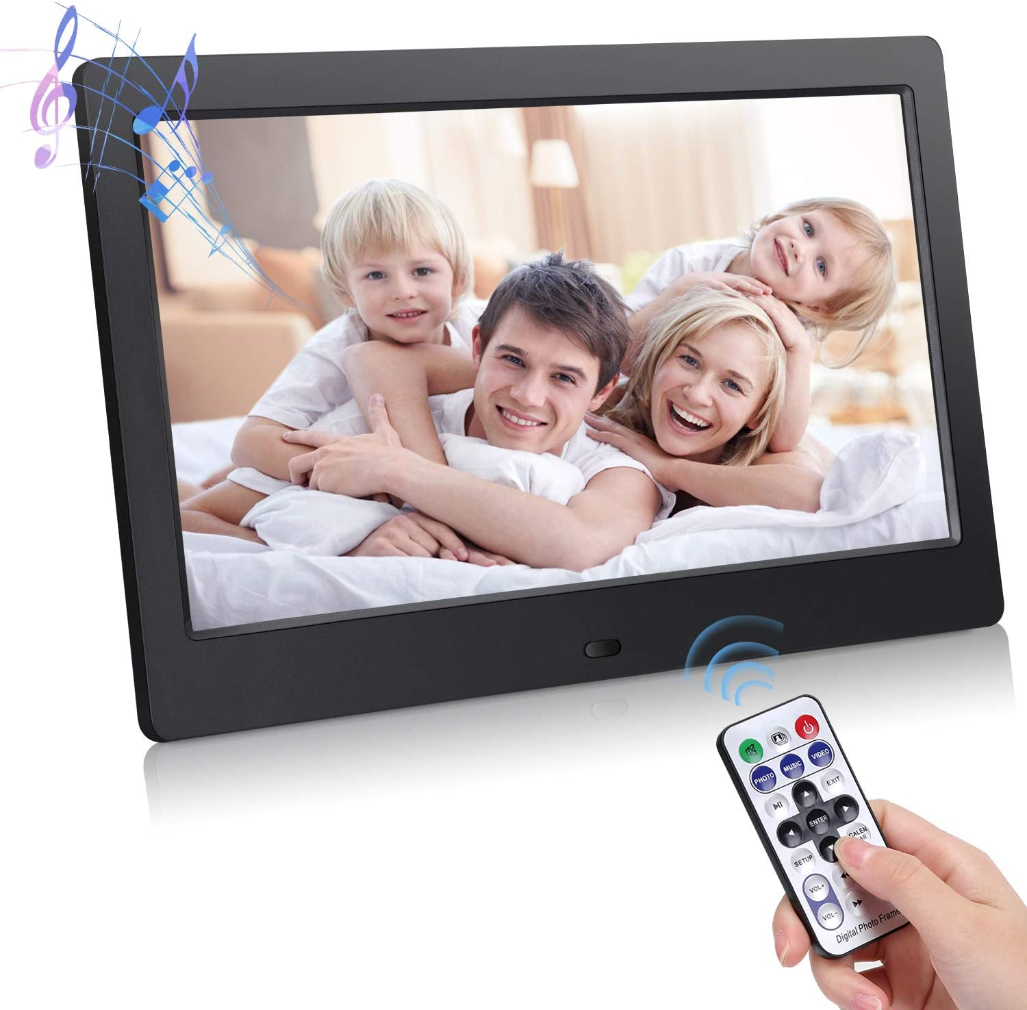 800 x 600 Resolution Remote Control Included,Black LLC-POWER 10-inch Digital Photo Frame Support Photo//Music//Video//Calendar with Touch Button and Built-in Speakers