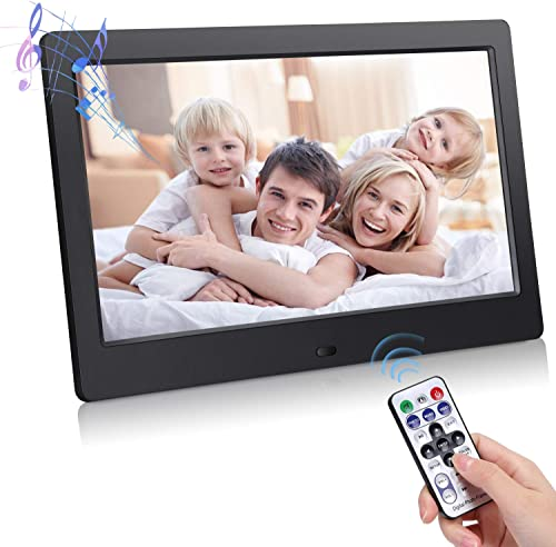 Digital Photo Frame 10 inch, Electronic Photo Frame with HD LED Display,Support USB SD MMC Card Playback and 1080P Photo, 1080P Video Files,Electronic Photo Frame with Infrared
