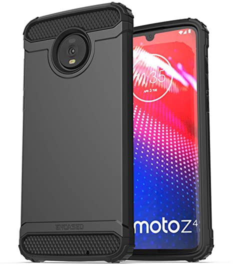 Encased Heavy Duty Moto Z4 Case (2019 Scorpio Series) Military Grade Rugged Phone Protection Cover Black