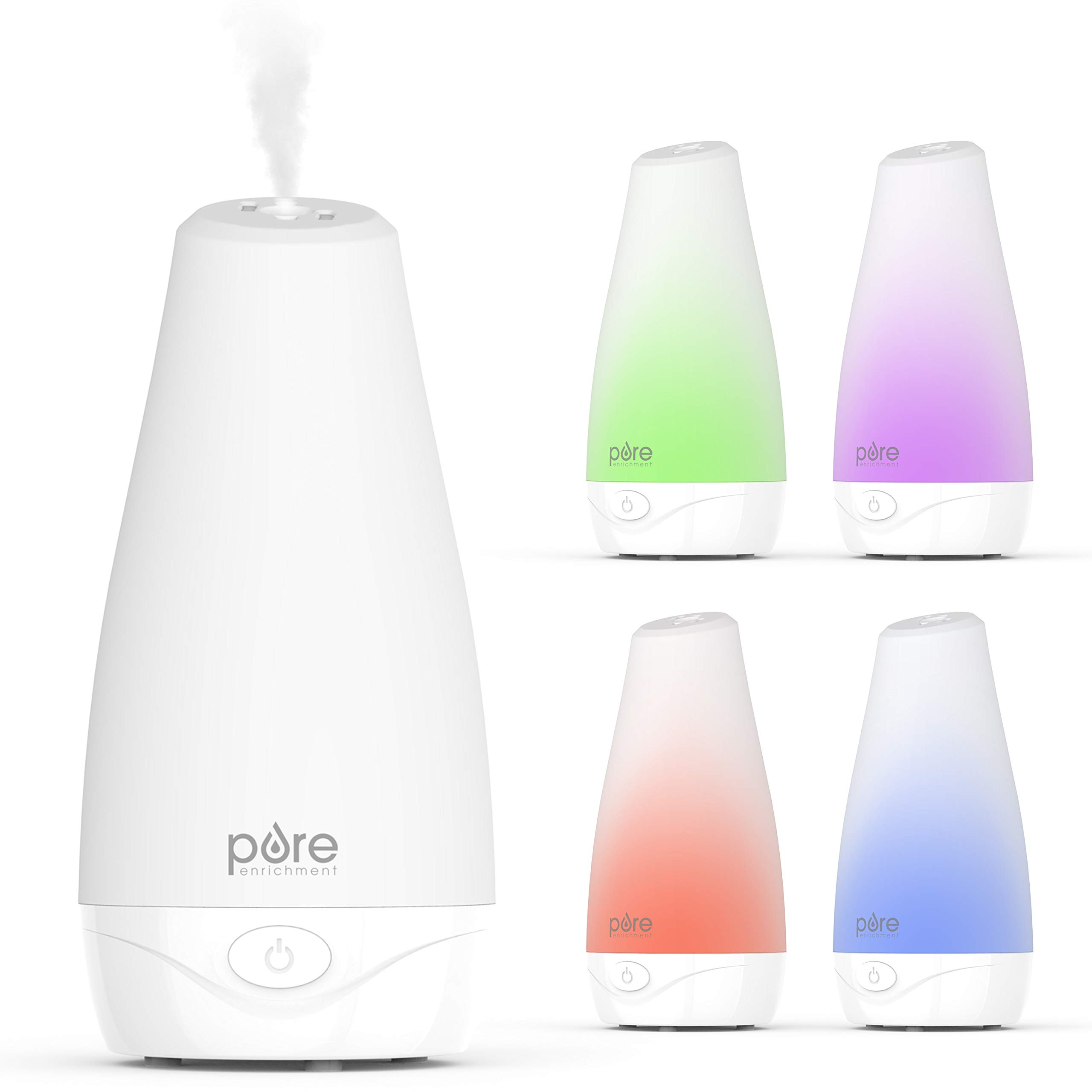 Pure Enrichment PureSpa Essential Oil Diffuser - Compact Air Deodorizer with 100ml Water Tank, Mood-Boosting Ionizer & Optional Color-Changing Light - Lastsup to 7 Hours with Auto Safety Shut-Off by Pure Enrichment