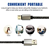 Micro USB Cable Android Charger 2-Pack 6FT 2.0 Long High Speed Quick Data Sync Charging Nylon Braided Portable Cord for Samsung Galaxy S6 S7 Edge J7 Note 5 LG Xbox PS4 Camera Smartphones