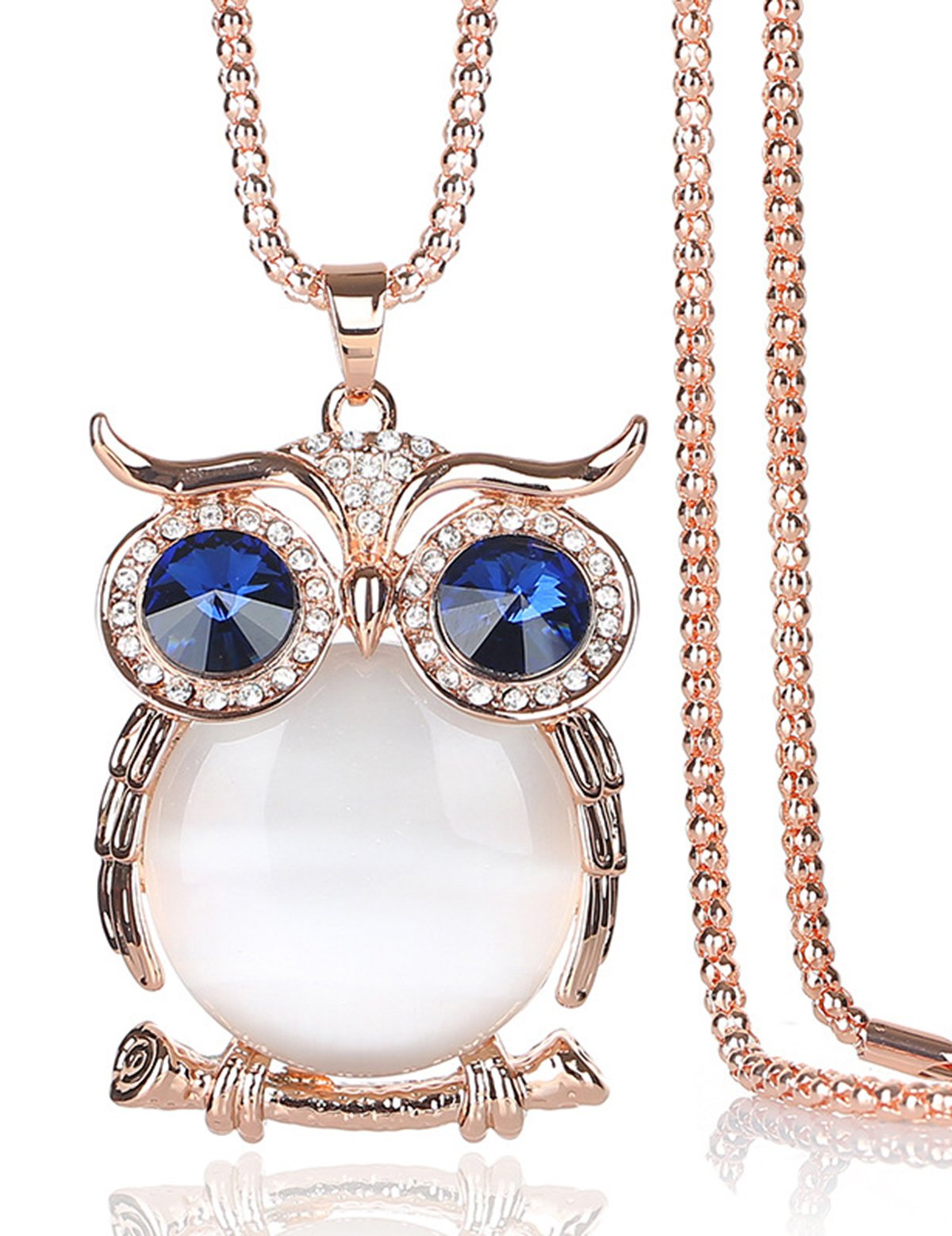 Owl Long Chain Pendant Necklaces Sweater Necklaces Big Large Created Opal Pendant with 30'' Long Necklace Mother's Day Gifts Birthday Gifts Anniversary Gifts for Girlfriend Wife Daughter Mom Women Son