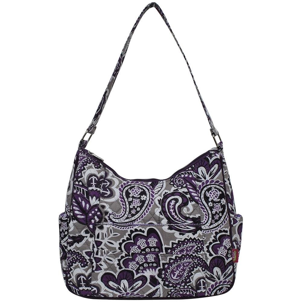 Ngil Quilted Cotton Hobo Shoulder Bag (Paisley Park Purple)