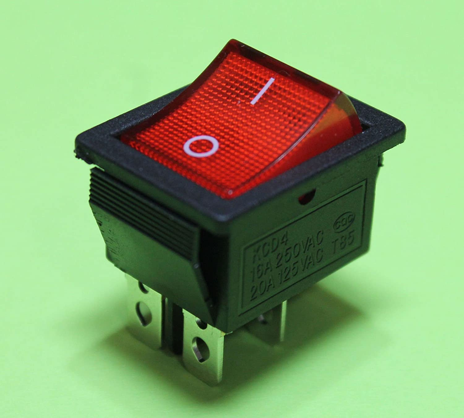 Red Light On Off Ac Rocker Switch 250v 15 Amp 125v 20a Dpst 4 Lug Dpdt Double Pole Throw With Terminals Industrial Scientific