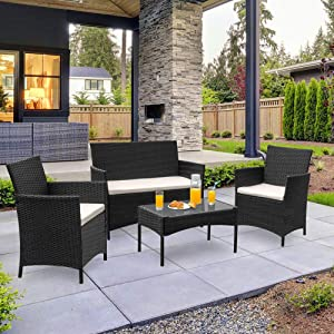 CAYNEL 4 Pieces Outdoor Patio Furniture Set, Sofa Seating Group with Cushions, Rattan Wicker Chair with Table, Outdoor Indoor Use Backyard Poolside Balcony Furniture