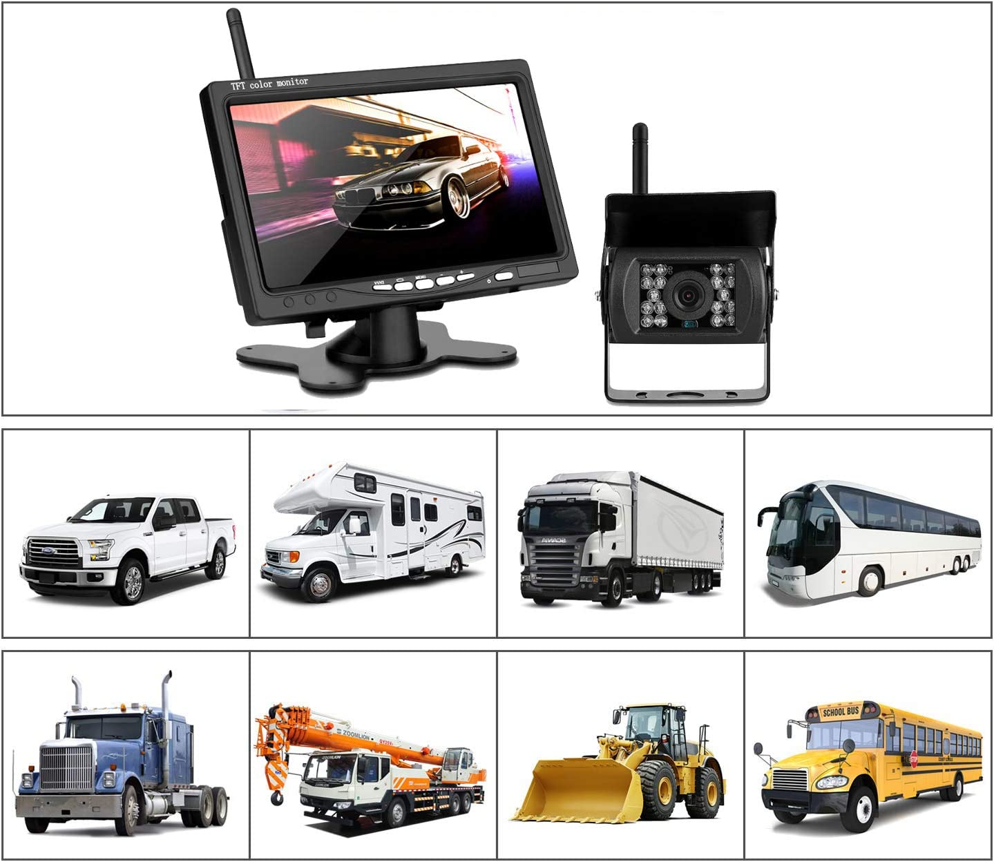 Vehicle Backup Camera Monitor Kit UKSoku Rearview Reversing Camera Wireless 7 TFT LCD IP67 Waterproof Night Vision Split Screen 270/° Wide Angle for Bus RV Truck Box Semi-Trailer