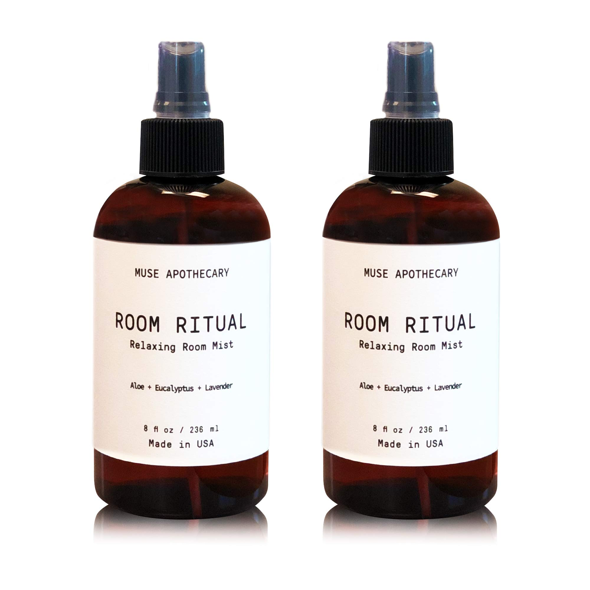 Muse Bath Apothecary Room Ritual - Aromatic and Relaxing Room Mist, 8 oz, Infused with Natural Essential Oils - Aloe + Eucalyptus + Lavender, 2 Pack by Muse Bath Apothecary