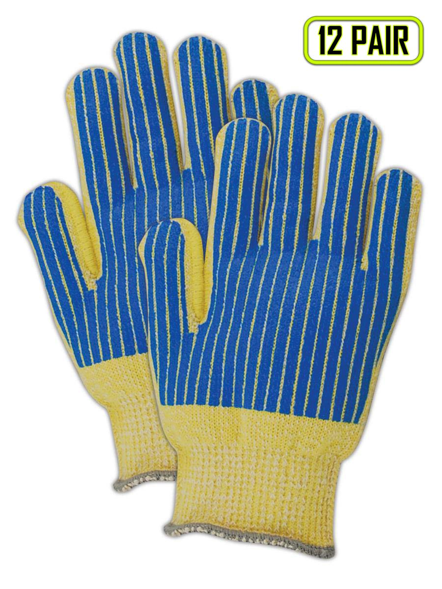 Magid Cut Master Palm-Coated para-Aramid/Cotton Blend Seamless Terrycloth Knit Gloves, Ladies Fits Medium