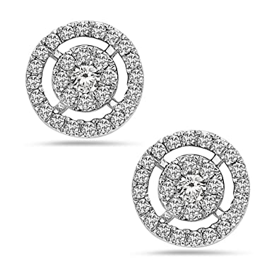 26e46a89b Image Unavailable. Image not available for. Color: Crush + Fancy 18k White  Gold Round Pavè Diamond Stud Earrings ...