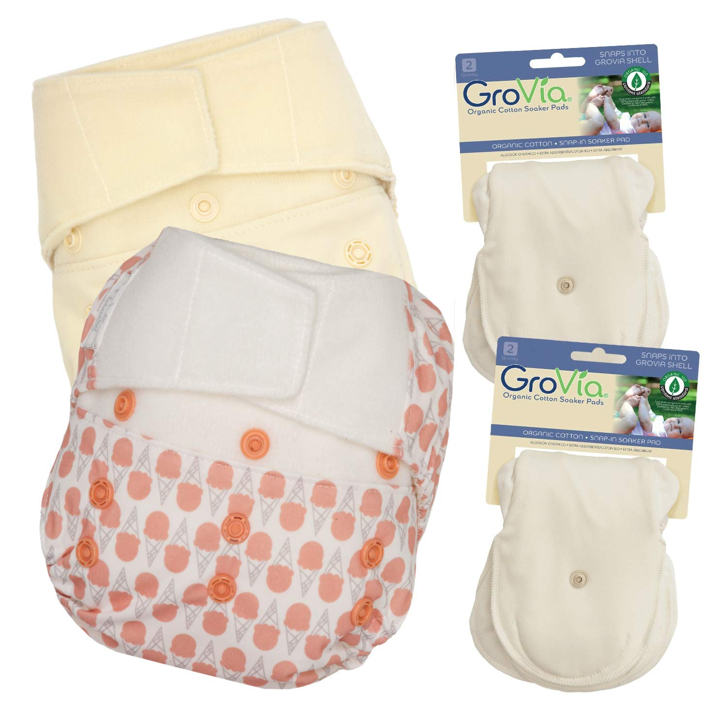 GroVia Experience Package: 2 Shells + 4 Organic Cotton Soaker Pads (Color Mix 5 Hook & Loop)