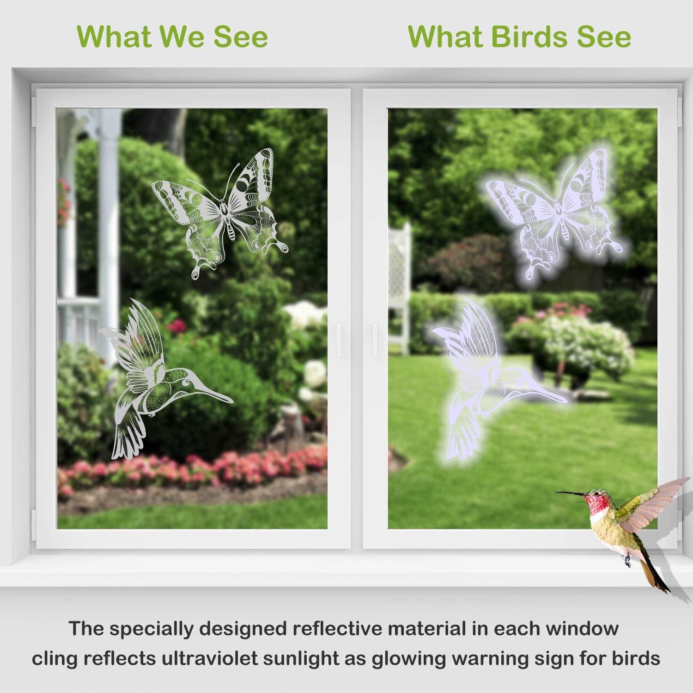 Boao 20 St/ück Anti-Kollision Warnen Aufkleber Schmetterlinge Vogel Abschreckend Fenster Haftet Abschreckung V/ögel Stoppt V/ögel 5 Formen die in Fenster fliegen