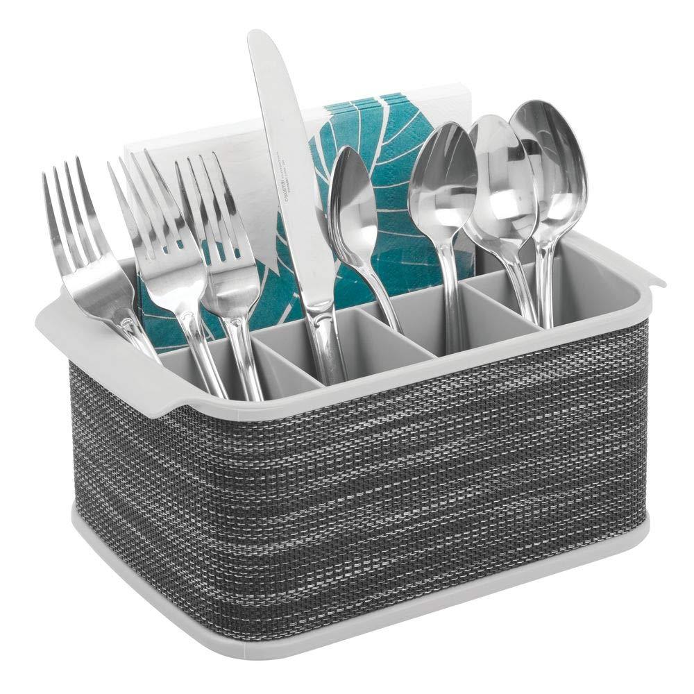 mDesign Cubertero con asas – Decorativo cesto portacubiertos para cocina, comedor, jardín o para ir de picnic – Bandeja para cubiertos con 5 ...