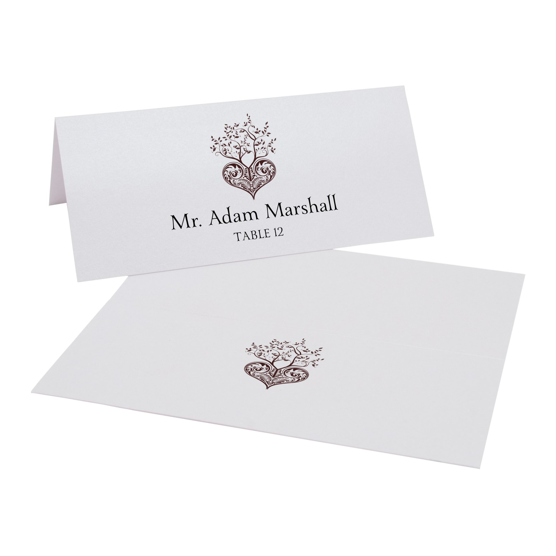 Tree of Life Heart Place Cards, Pearl White, Chocolate, Set of 375 by Documents and Designs