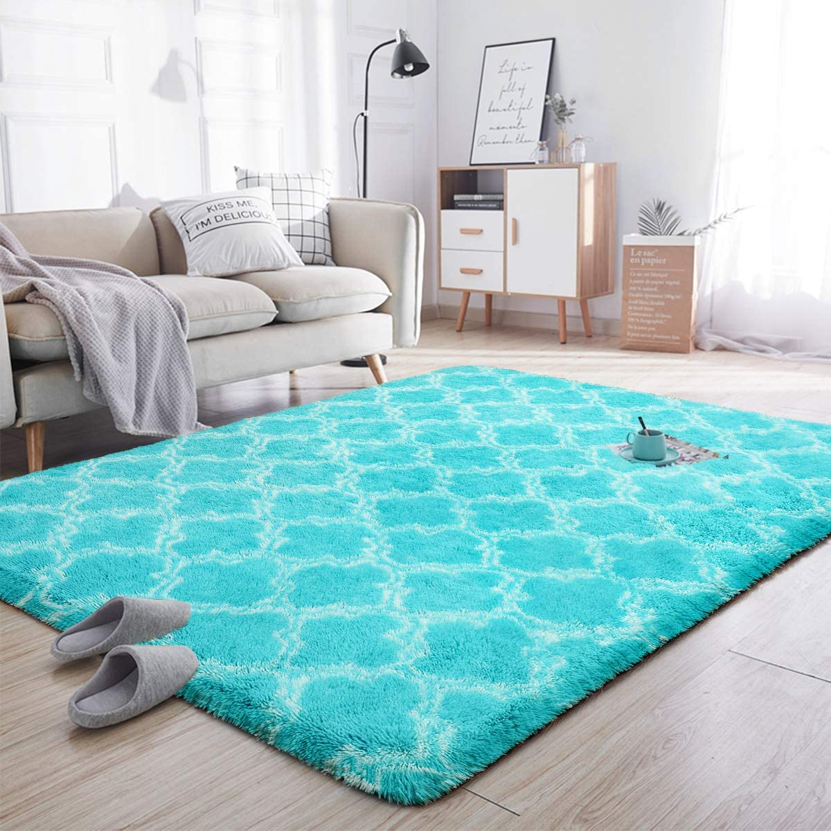 Noahas Soft Area Rugs for Bedroom Living Room Shaggy Patterned Fluffy Carpets for Nursery Baby Rooms Silky Smooth Fuzzy Kids Play Mats Christmas Home Decor Rug, 5ft x 8ft, Teal Blue