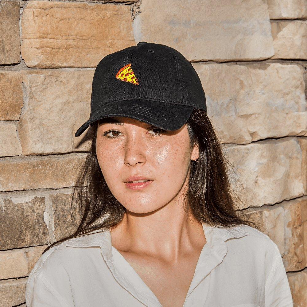 b9c378ec Dad Hat Cap - Pizza Slice Emoji Embroidered Adjustable Blue Baseball Cap at  Amazon Men's Clothing store: