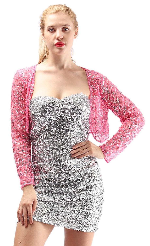 Alivila.Y Fashion Womens Mesh Sequin Long Sleeve Evening Bolero Shrug Jacket
