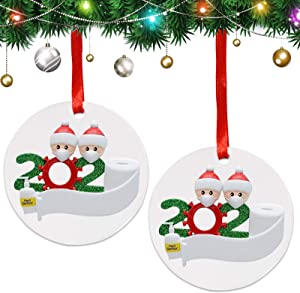 Topcci Christmas Ornament 2 Packs Personalized Name Christmas Ornament Quarantine with Mask, 2020 Quarantine Survivor Family Christmas Tree Decoration, Quarantine Christmas Ornament for Family