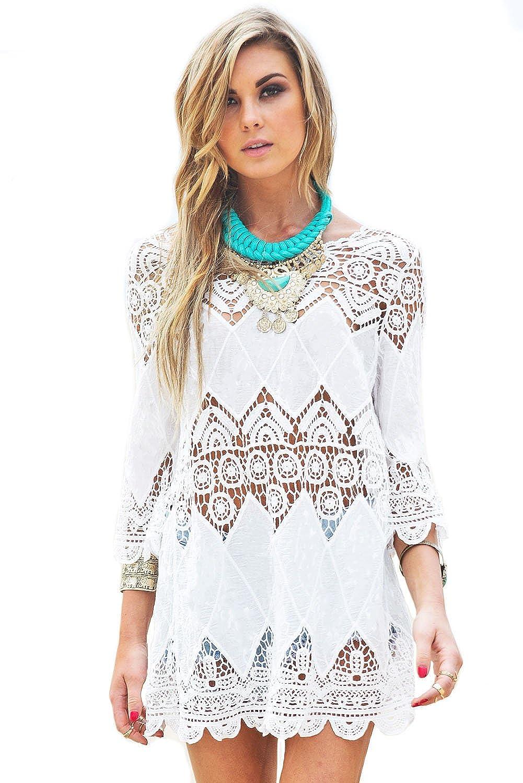 NICE BUY Damen Ärmel Crochet Sommerkleid Mini Strandkleid Tunika Bademode