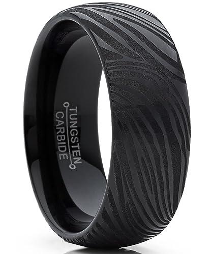 Metal Masters Co Mens Black Tungsten Carbide Dome Wedding Band