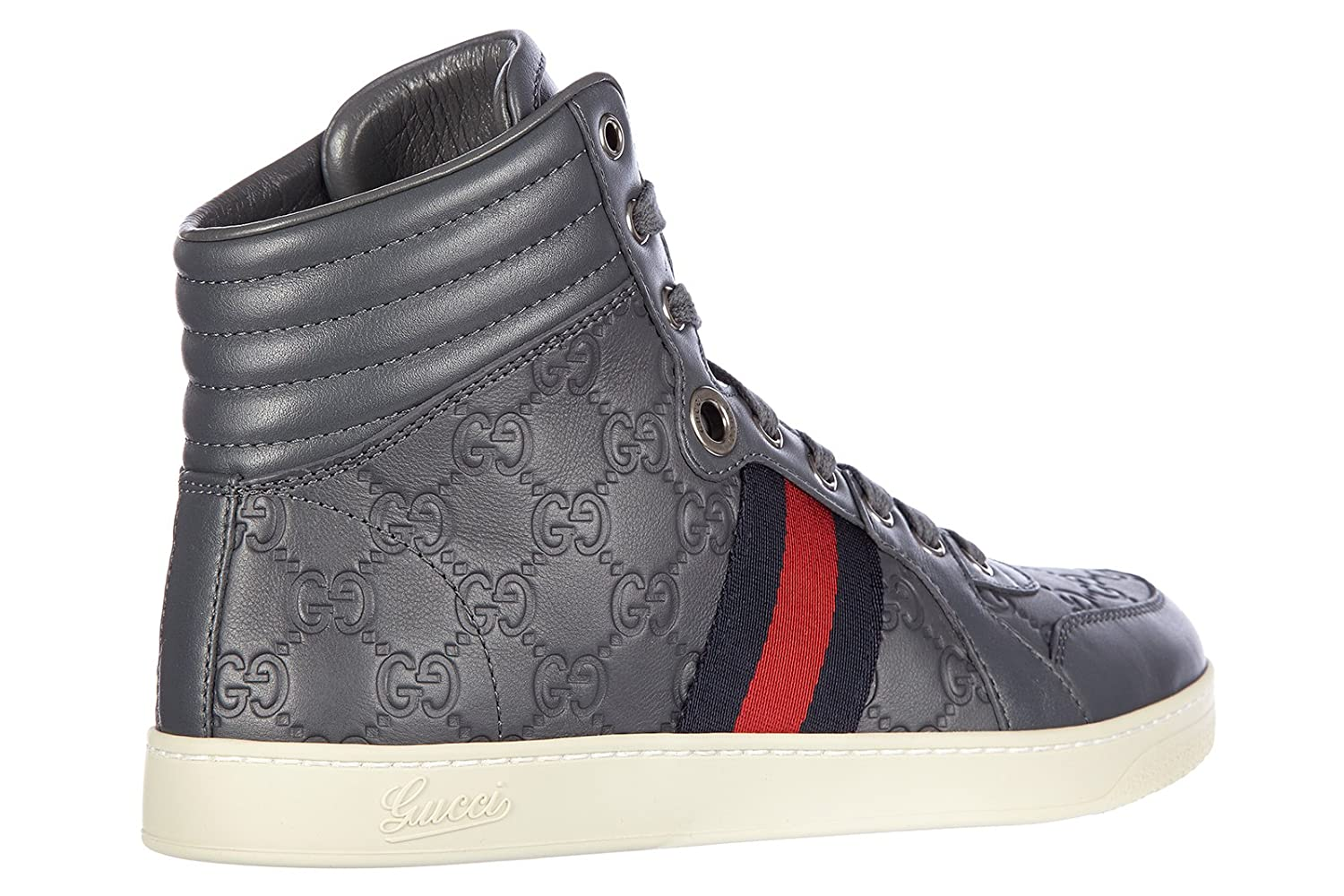 35d16c98c Gucci men's shoes high top leather trainers sneakers miro soft grey UK size  9 221825 A9L90 1360: Amazon.co.uk: Shoes & Bags