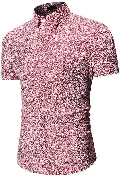 MineMine - Camisa de Manga Corta para Hombre de Manga Corta con Estampado Rojo M: Amazon.es: Ropa y accesorios