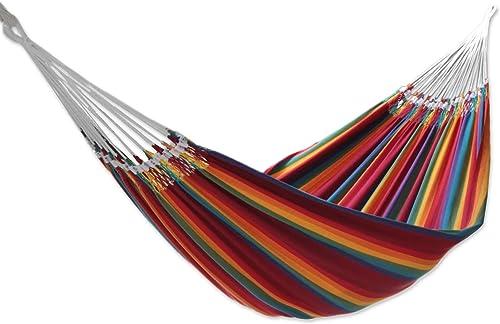 NOVICA Multicolor Rainbow Striped Cotton Fabric 2 Person Brazilian Hammock
