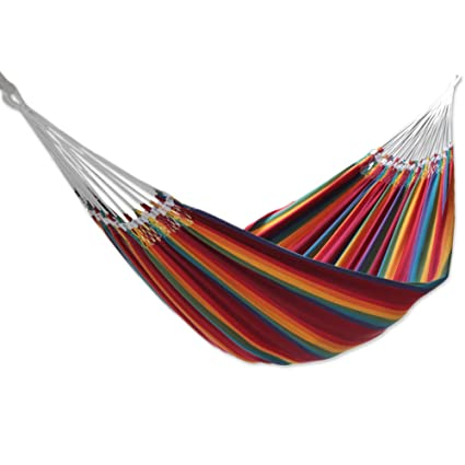 novica hand woven multi color striped cotton 2 person hammock  u0027brazilian rainbow u0027 amazon     novica hand woven multi color striped cotton 2 person      rh   amazon