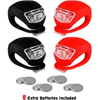 refun Bicycle Light - Front and Rear Silicone LED Bike Light Set - 2 High Intensity Multi-Purpose Water Resistant Headlight - 2 Taillight for Cycling Safety