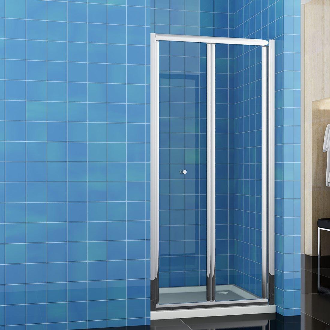 SUNNY SHOWER BF30 New Butterfly Bi-fold Clear Glass Shower Door ...