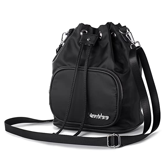 Crossbody Purse for Women Small Shoulder Bag Nylon Drawstring Bucket Handbag Lightweight Casual Katloo (Black)